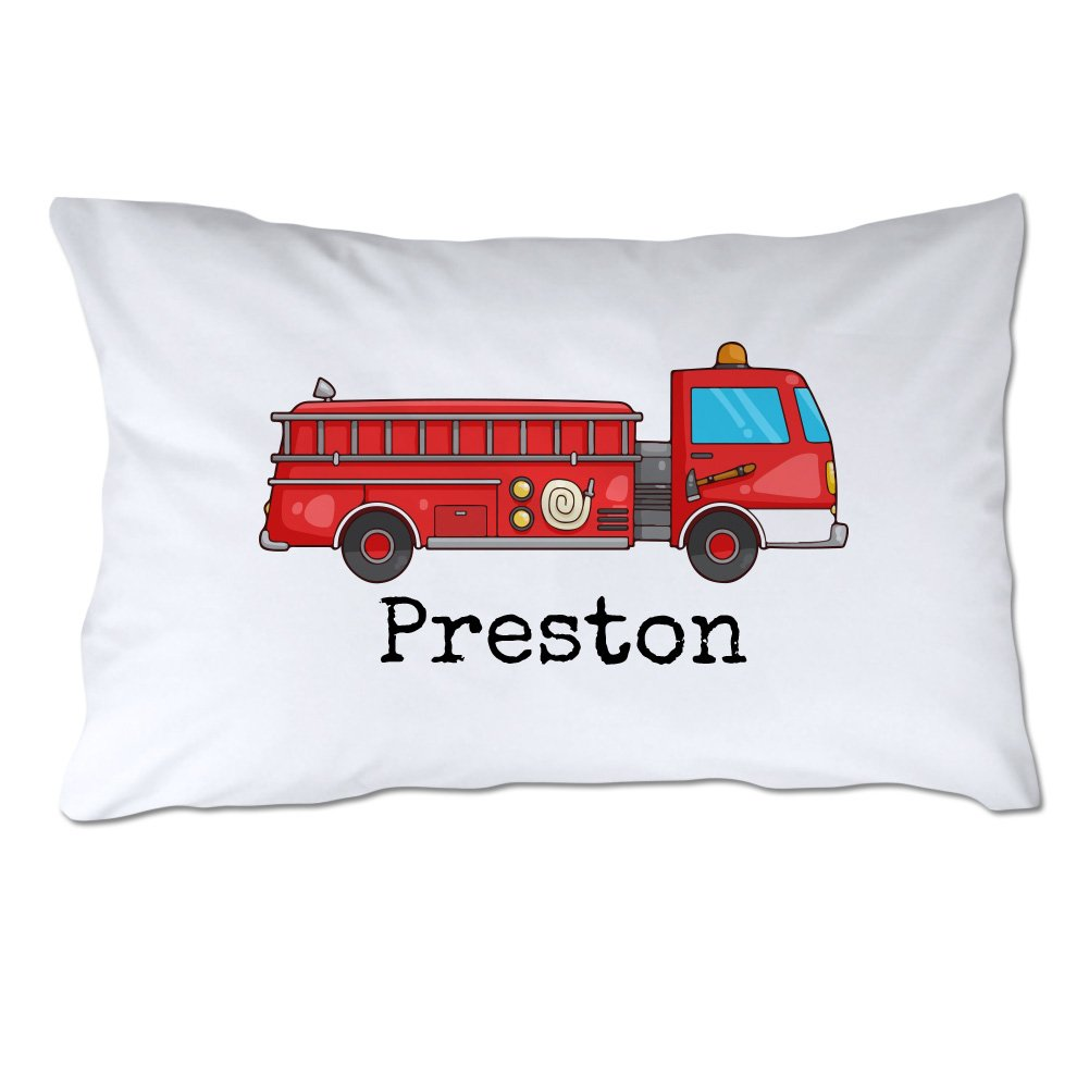 Personalized Toddler Size Fire Truck Pillowcase with Pillow Included