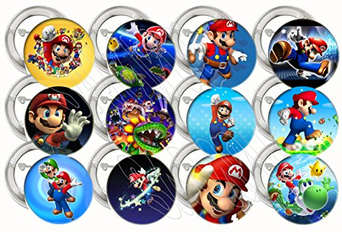 "Super Mario Bros Video Game Party Favors Supplies Decorations Collectible Metal Pinback Buttons, Large 2.25"" -12 pcs"