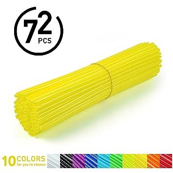 72Pcs Spoke Skins - Cubiertas de Radio de Rueda para Motocross, Bicicletas de Suciedad - 10 Colores (Color : Amarillo)