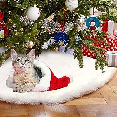 Aytai 48 Inches White Faux Fur Christmas Tree Skirt Luxury Soft Snow Tree Skirts Xmas Holiday Decorations Pet Favors