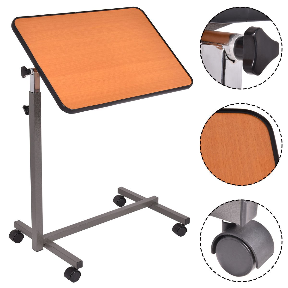 KCHEX>Overbed Rolling Table Over Bed Laptop Food Tray Hospital Desk With Tilting Top>This is our brand new over bed table, which is ideal for eating, writing, playing games, or using your laptop while
