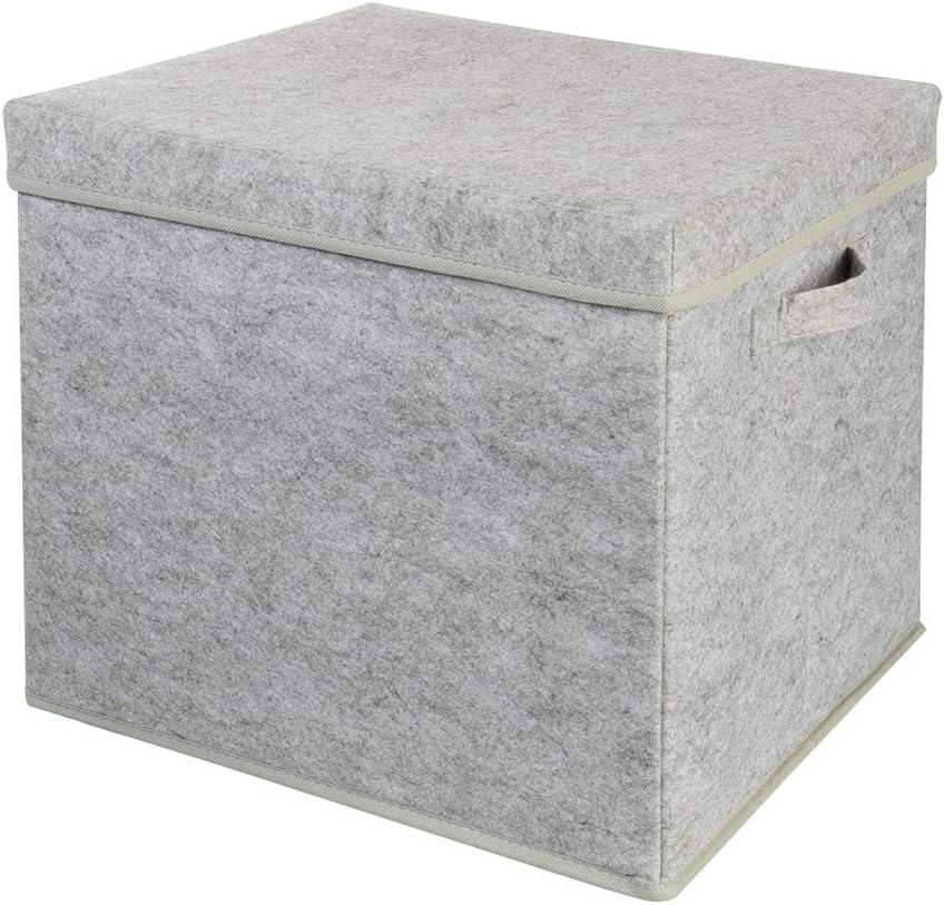 Wenco - Caja de Fieltro Grande (33 x 37 x 5 cm), Color Gris
