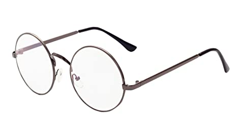 ca413c6a6e2e Image Unavailable. Image not available for. Colour  MaxAike 1 Retro Metal  Frame Clear Lens Round Glasses Plain Mirror ...