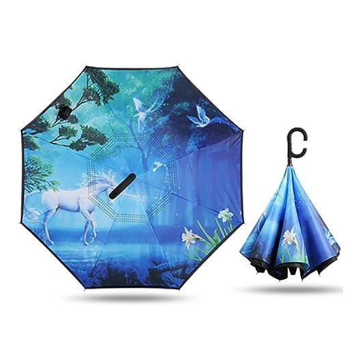 Paraguas Invertido Plegable De Doble Capa A Prueba De Viento ...
