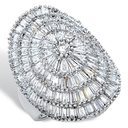 Platinum-plated Round and Baguette Cubic Zirconia Cluster Dome Ring Size ()