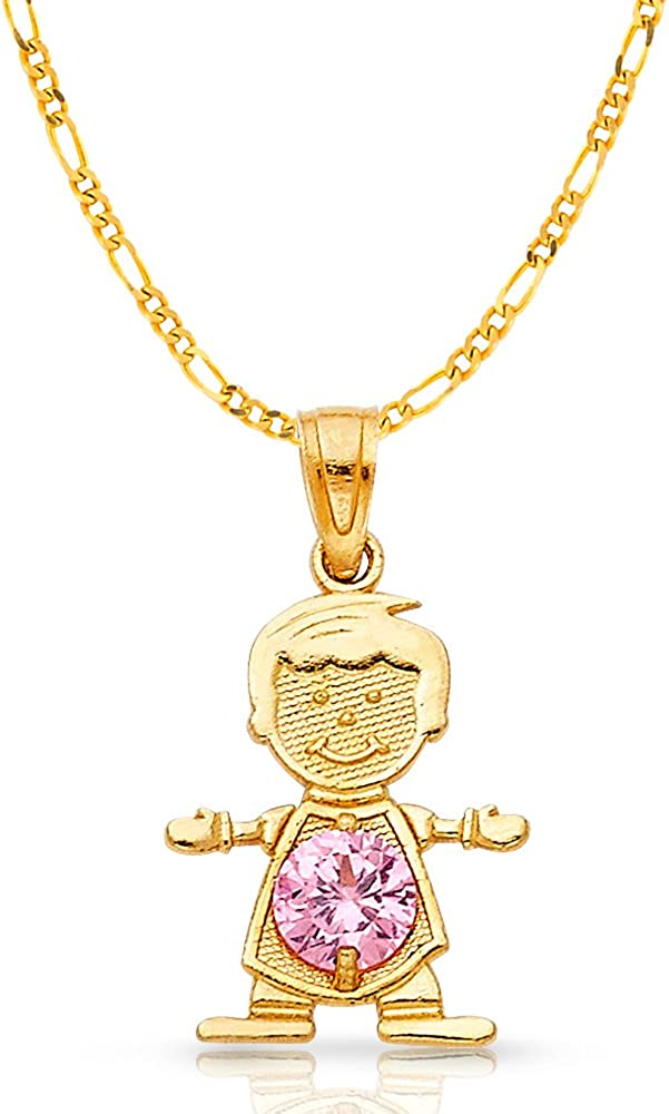 14K Yellow Gold October Birthstone Cubic Zirconia CZ Girl Charm Pendant with 2mm Figaro 3+1 Chain Necklace