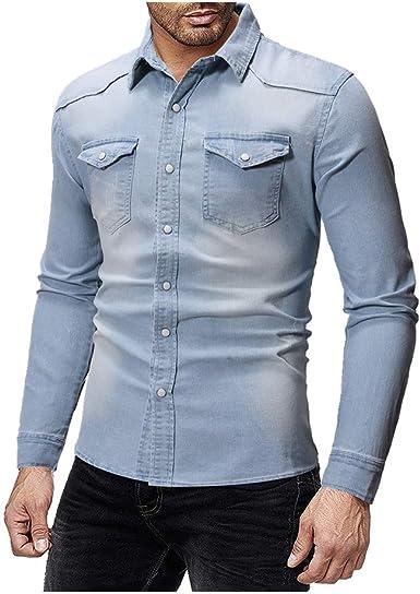 NOBRAND - Camisa vaquera de manga larga para hombre: Amazon.es: Ropa y accesorios