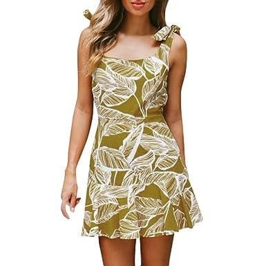 Women Summer Dress, HEHEM Women Ladies Leaves Printing Sleeveless Mini Dress Summer Beach