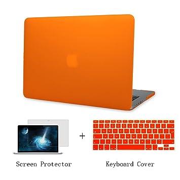 Batianda Plástico Funda Dura Carcasa para MacBook Pro 13 Retina & Cubierta del Teclado & Protector de Pantalla,Naranja