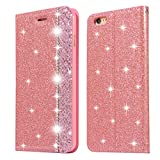 Glitter Leather Case for iPhone 6S,iPhone 6 Pink PU Wallet Case,Ostop Luxury Diamond Stand Holder Purse Flip Cover with Card Slot,Dual Layer Shockproof Stylish Shiny Rhinestone Shell