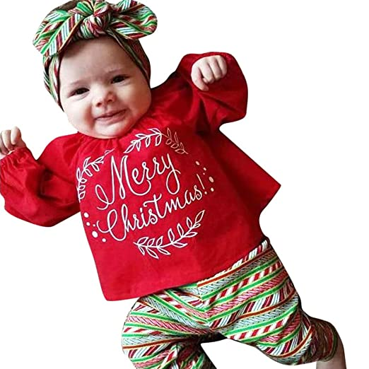 f0f009b68ff1 Toddler Girls Merry Christmas Tops + Pants +Hair Band Outfits Set (Red, 2