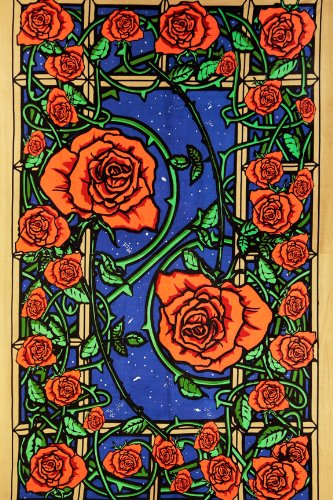 - Sunshine Joy 3D Rose Window Tapestry Wall Hanging Table Cloth Magical Dorm Decor - Huge 60x90 Inches