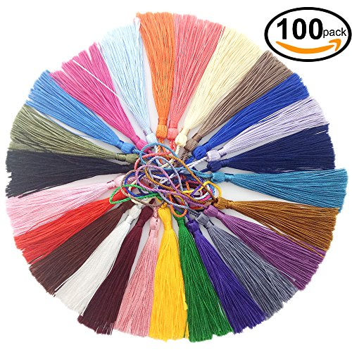VAPKER 100 Pieces 13cm/5-Inch Silky Handmade Soft Tassels Floss bookmark Tassels with 2-Inch Cord Loop for Jewelry Making, DIY Projects, Bookmarks(25 (Handmade Tassels)
