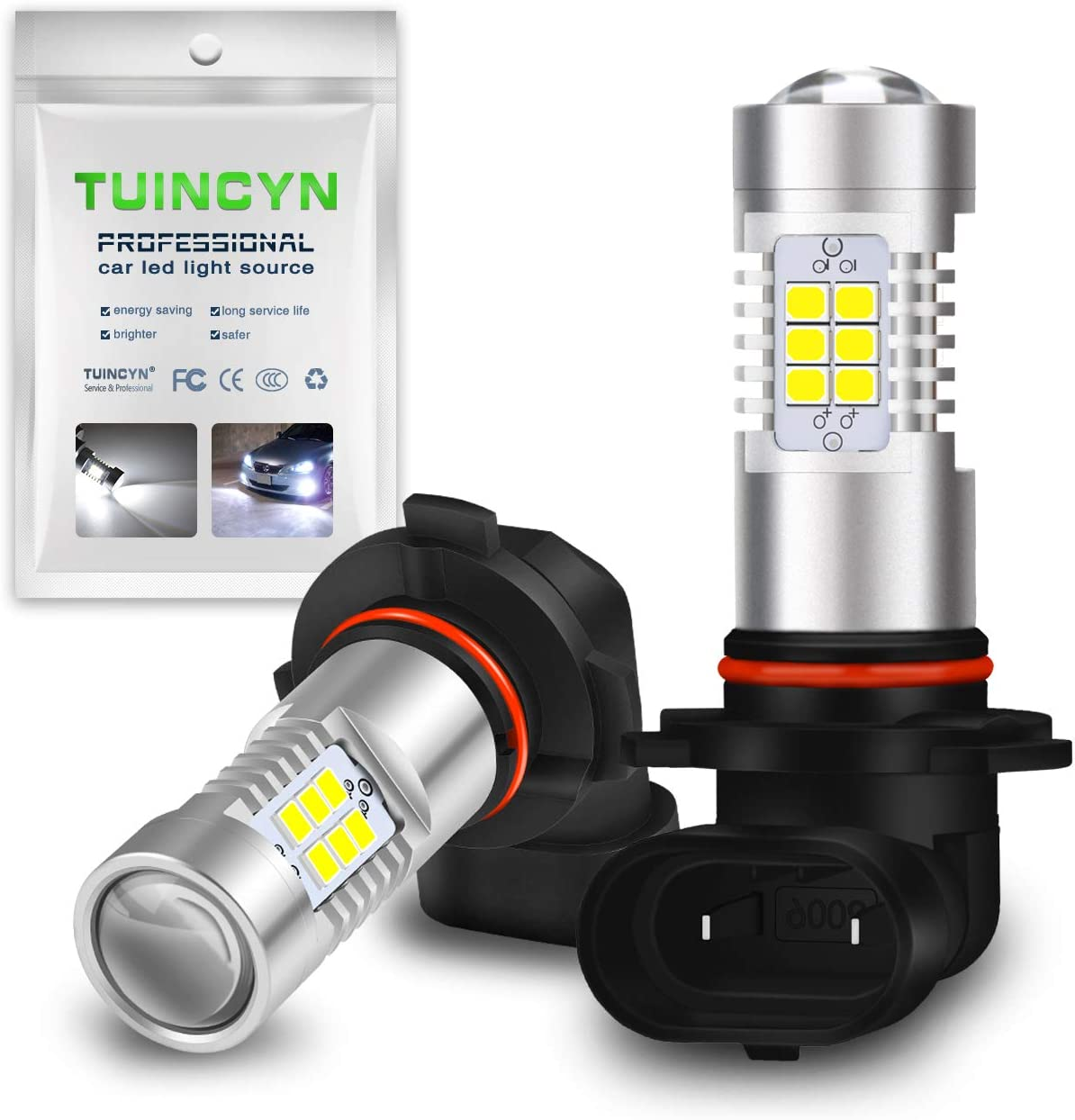 TUINCYN 9006 HB4 LED Fog Light Bulb DRL Lamp Replacement 2835 21SMD 6500K Xenon White Extremely Bright LED Car Driving Daytime Running Lights 10.5W DC 12V 2-Pack