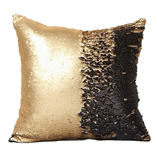 Menglihua Glitzy Magical Color Changing Reversible Paillette Sequin Mermaid Square Throw Pillow Covers Yellow-Black 18