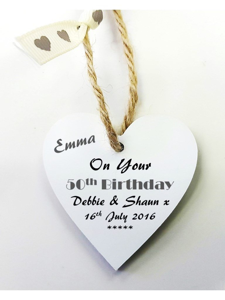 Personalised 50th Birthday Wooden Gift Tag Mini Heart Plaque FREE MINI GIFT BAG Size 5cm Details Required Via Amazon Amazoncouk Kitchen