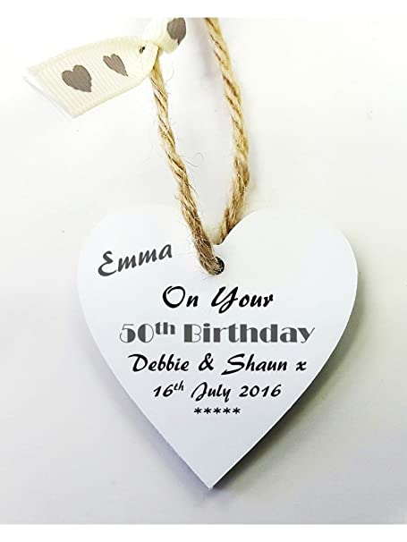 Personalised 50th Birthday Wooden Gift Tag Mini Heart Plaque FREE MINI GIFT BAG Size