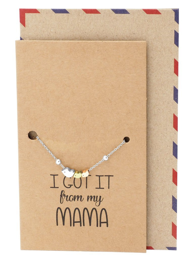 Quan Jewelry Mother Daughter Bird Bracelet, Mom Jewelry Gifts and Greeting Card