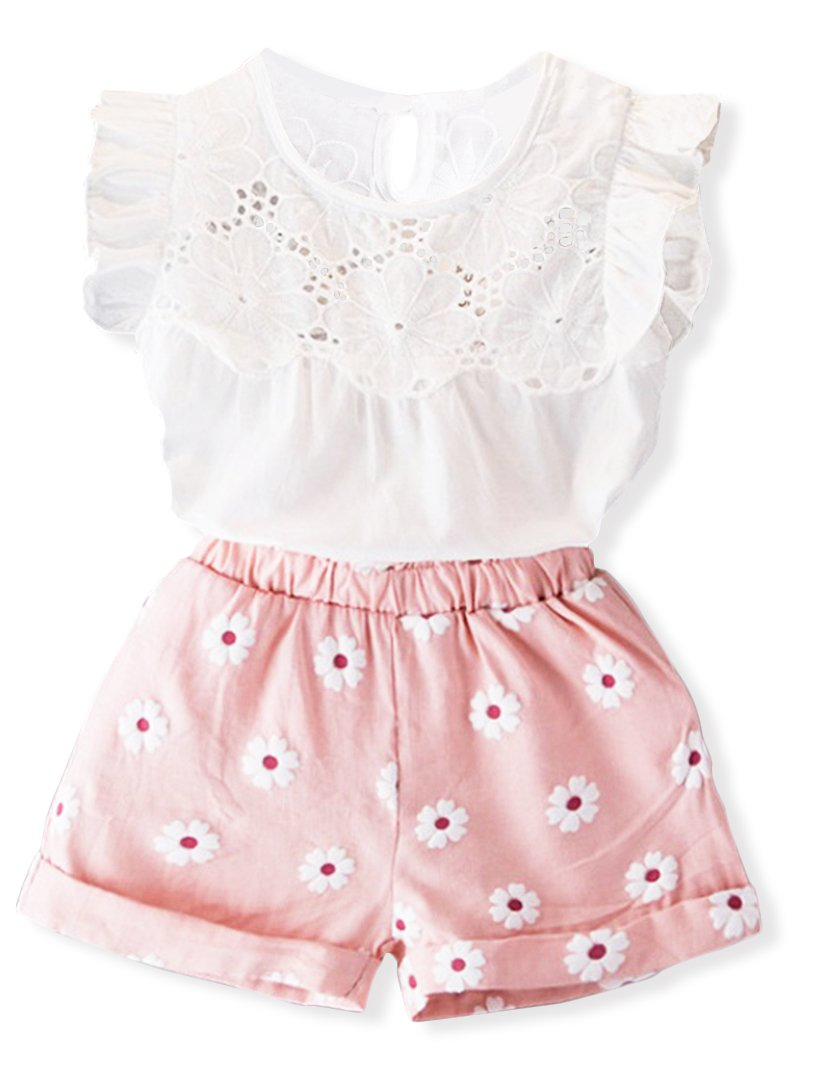 Toddler Girl Outfits 2Pcs Ruffle T-Shirt Vest Tops and Shorts Pants Clothes Sets(2T)