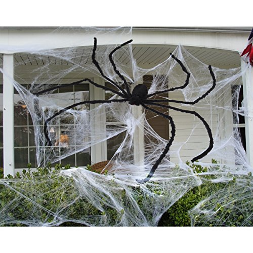UNOMOR 7.5 ft Giant Halloween Spider Largest Scary Hairy Spiders for Outdoor Halloween Decorations or Haunted House Decor(Black)