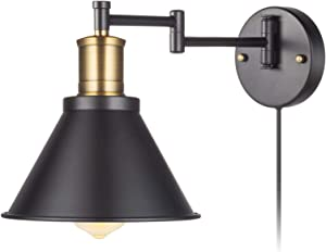 YeLEEiNO Swing Arm Wall Lamp Plug-in Cord Industrial Wall Sconce, Bronze and Black Finish,with On/Off Switch, E26 Base UL Listed,1-Light Bedroom Wall Lights Fixtures,Bedside Reading Lamp (Art Style)