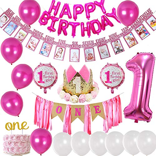 1st Birthday Girl Decorations Pink Party Supplies - Happy First Birthday Banner, Number 1, Photo Banner 1-12 Month, Birthday Crown, Cake Topper ONE, High Chair Banner Decoration. ()