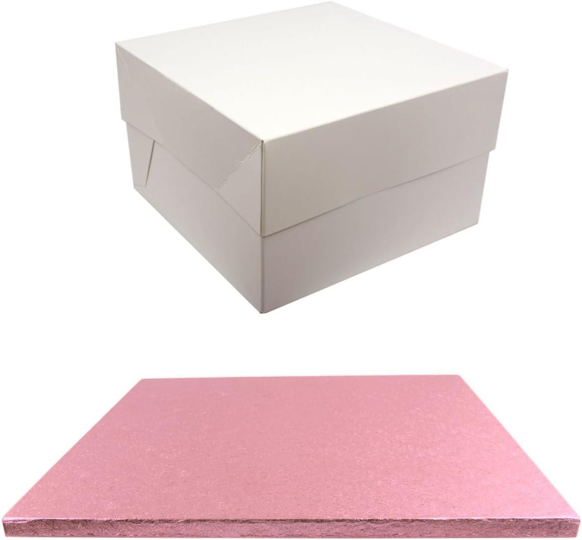 Tambor de color cuadrado para tartas y blanco caja de transporte Pale Pink: Amazon.es: Hogar
