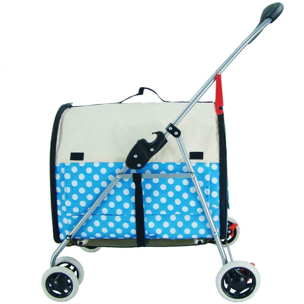 Strollers Dog Pram Pet Small Car Cat Folding Pet Trolley Cat and Dog Four-Wheeled Wagon Disabled Dog Pushchair Can Bear 15 Kg (Color : Blue, Size : 794996cm)