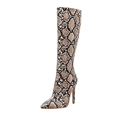 afc61f1e53b Fainosmny Women Boots Knee High Boots Snakeskin High Heels Christmas Women  Shoes Sexy Nightclub Stage Boots