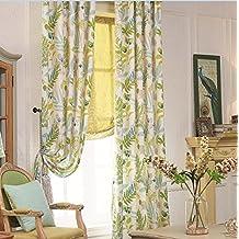 "IYUEGOU Modern Print Cotton Multi Floral Energy Saving Grommet Top Curtain Draps 72"" W x 96"" L (One Panel)"