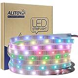 ALITOVE LEDイルミネーション WS2812B アドレス可能 LEDテープライト5050 RGB SMD 5 m 150個ピクセル夢色 防水IP67ホワイトPCB DC 5V