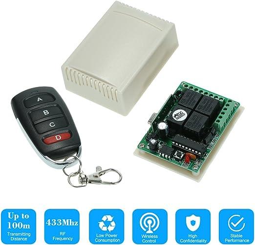 Funkfernbedienung INSMA 433 MHz 12V 4CH Wireless Fernbedienung Schalter Relaisschalter 2 Transceiver mit 1 Empf/änger Remote Control f/ür Fenster Zentralverriegelung Spielzeugauto etc Garagentor