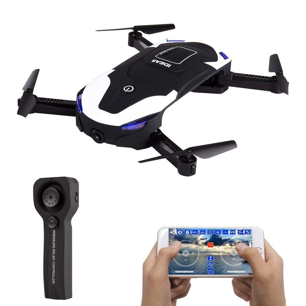 le-idea IDEA8 Stylish Funny FPV RC Drone with 720P HD WI-FI Camera Live Video , Foldable Selfie Pocket Drone for Kid & Beginner , Two Cameras ,Two Alititude Holds ,Follow Me ,Gravity Sensor