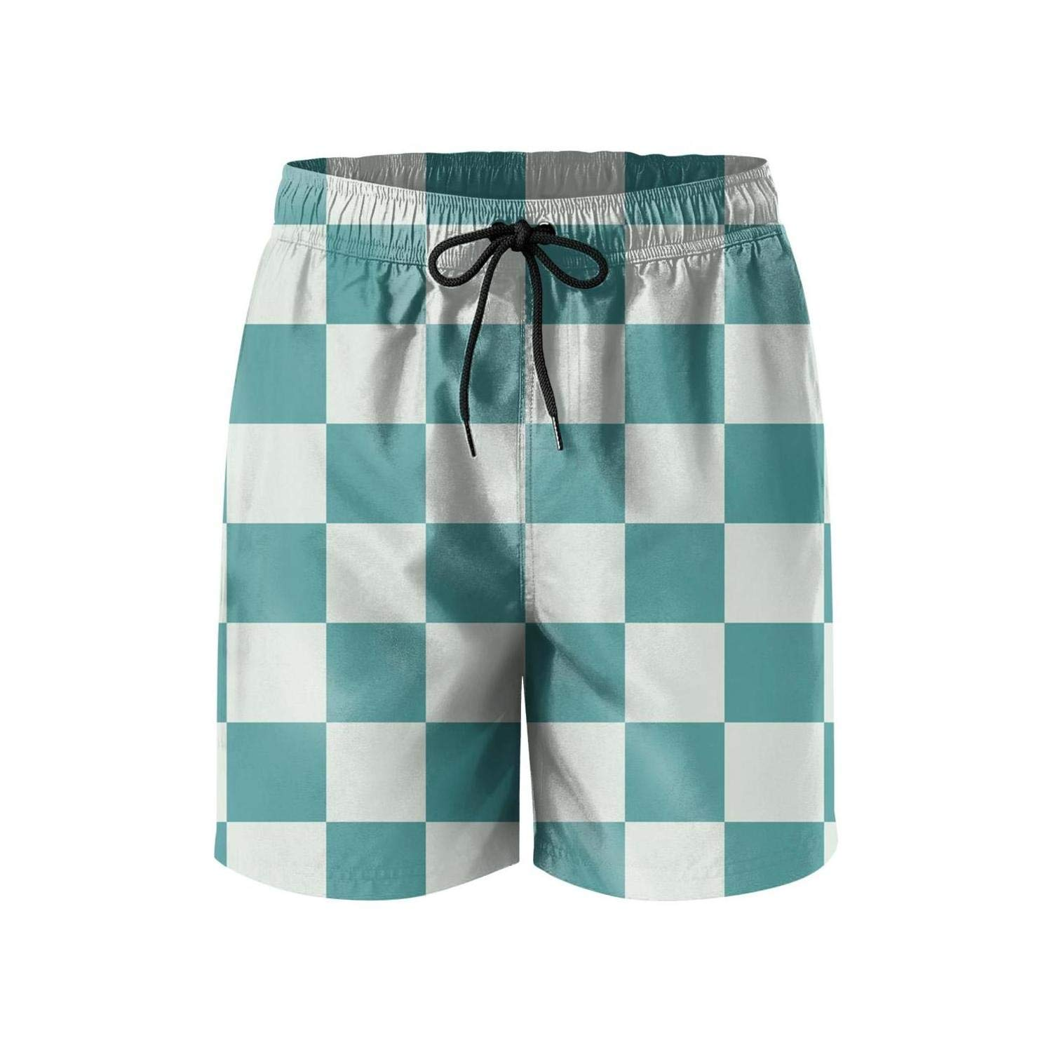 NDKSO3UH Popular Green and Yellow Checkered Mens Swim Trunks Quick Dry Holiday Mesh Lining Bathing Suits with Drawstring