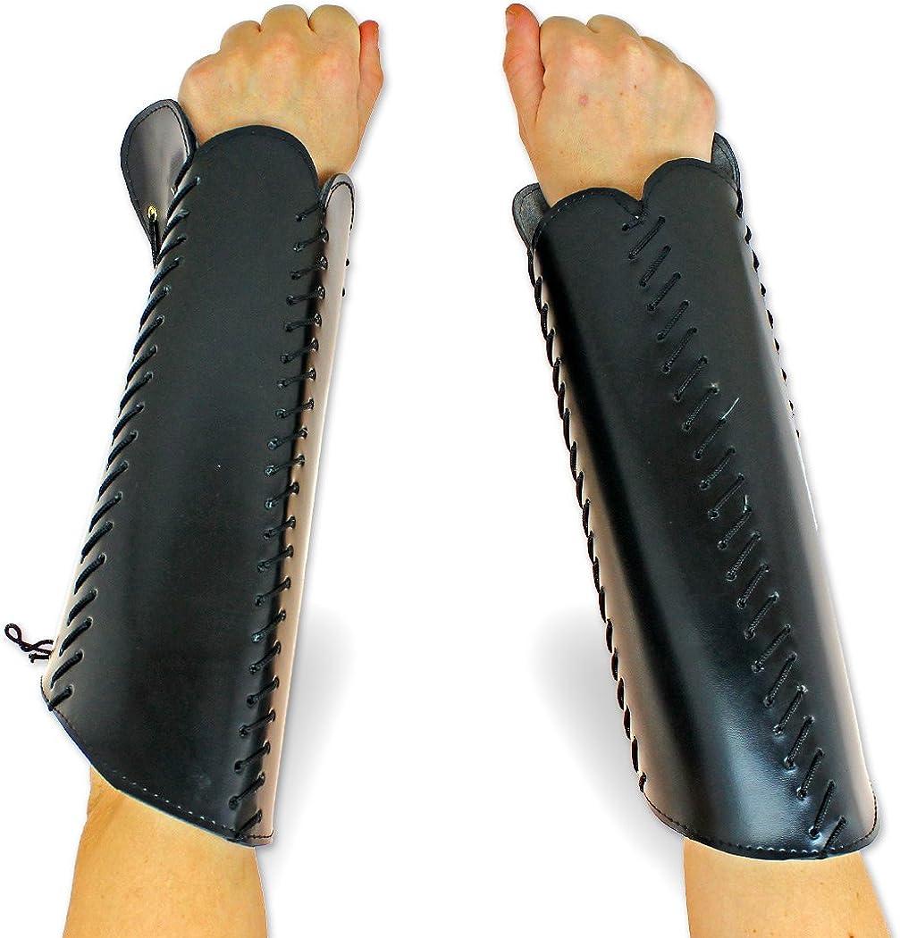 LARP Squire Greaves Leg Armor or Bracers Arm Armor Pleather Black