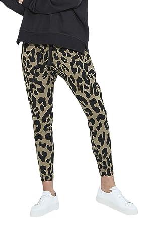 Femme Pantalon De Loisirs Automne Vintage Fashion Léopard Elégante Pantalons  Spécial Style Longue Taille Élastique Slim ba89f1966d8
