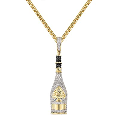 Amazon ace of spades champagne bottle pendant gold tone 925 amazon ace of spades champagne bottle pendant gold tone 925 silver box chain custom piece jewelry aloadofball Image collections
