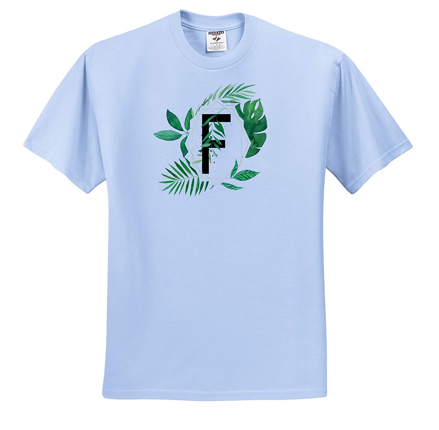 Monograms Adult T-Shirt XL Chic Image of Watercolor Tropical Leaves Monogram F ts/_318123 3dRose Anne Marie Baugh