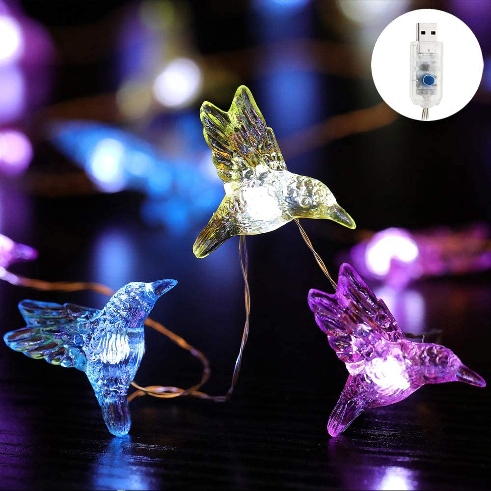"""SFgift Hummingbird USB-Plugin String Lights 1.2""""(H) 40 LED 16.8ft Flexible Copper Wire Waterproof Cold White with Remote for Covered Outdoor Indoor Wedding Porch Garden Birthday Party Home"""