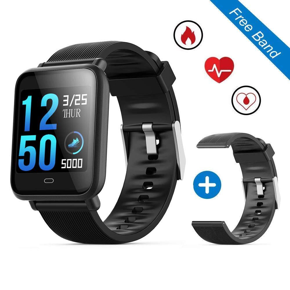 Q9 reloj inteligente deportivo impermeable, leegoal rastreador de ejercicios pulsera inteligente bluetooth con pulsometro, presión arterial, monitor ...