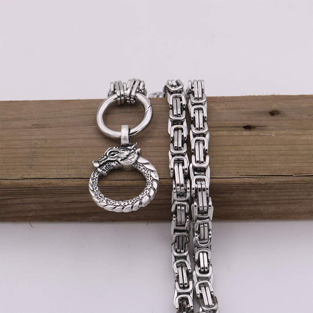 LEEFISH Viking Dragon Necklace Stainless Steel Men Norse Pendant Amulet Odins Pagan Pendant Jewelry Gift Unisex