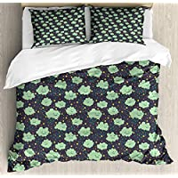 Ambesonne Doodle Duvet Cover Set, Childish Smiling Clouds Raindrops Weather Station Cartoon, Decorative 3 Piece Bedding Set with 2 Pillow Shams, Queen Size, Dark Blue Grey Almond Green