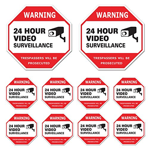 Video Surveillance Sign 10 Pack, CCTV 24 Hour Warning Sticker Door Window Yard Sign, Indoor & Outdoor Use (8-3x3 + 2-8x8 Decal)