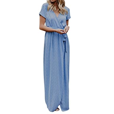 306b6adfd733 Longra Damen Boho Kleid V-Ausschnitt Langes Sommerkleid mit Polka Punkt Damen  Elegant Urlaub Strandkleid