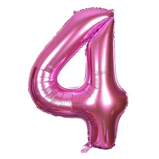 Smarcy Globos Número 4 Decoración de Cumpleaños 4 Años ...