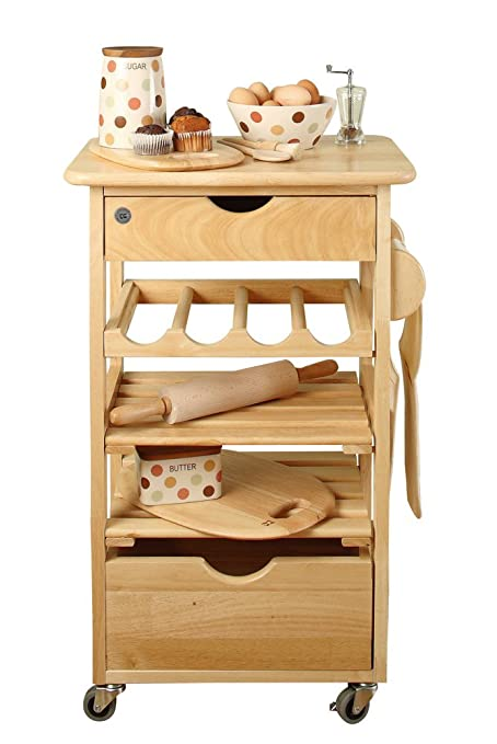 T&G - Mobiletto da cucina con rotelle in legno di evea: Amazon.it ...