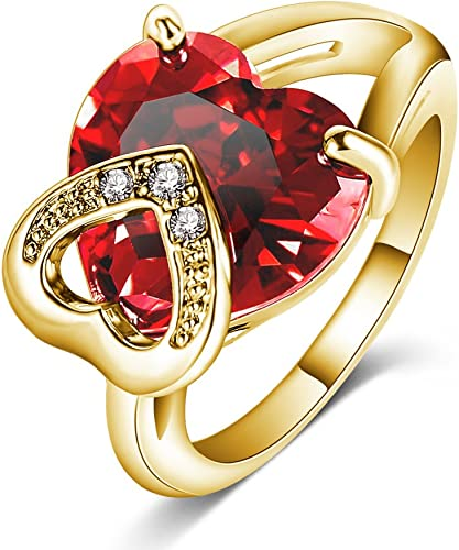 Amazon Com Luckyweng Red 2 Heart Promise Ring Yellow Gold Big