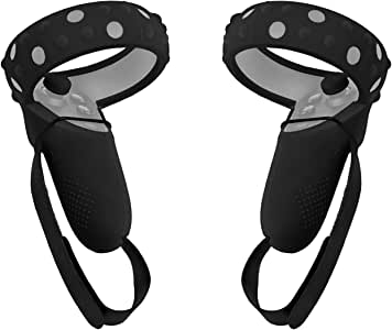 Fromsky Controller Grip Cover for Oculus Quest or Oculus Rift S Controller, Silicone Anti-Slip VR Oculus Quest Headset Grip Protective Cover (Strap Black)