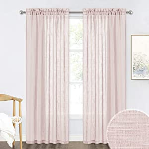 RYB HOME Sheer Curtains for Bedroom - Linen Textured Curtain Semi Sheer Drapes for Girls Nursery Living Room Patio Sliding Glass Door, Wide 52 inch x Long 84 inch per Panel, 1 Pair