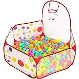 Dazers 折り畳み式 カラーボールプール バスケットゴール付き 子供用テント 組み合わせた 室内と公園玩具 知育玩具